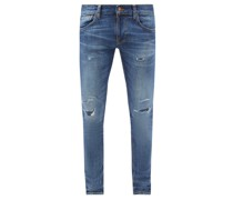 Tight Terry Distressed Skinny-leg Jeans