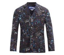 Abstract-print Single-breasted Wool Blazer
