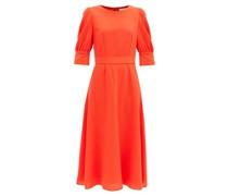 Kane Bishop-sleeve Wool-crepe Midi Dress