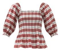 Alejandra Shirred Tartan Cotton-blend Blouse