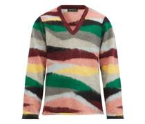 V-neck Stripe-jacquard Mohair Sweater