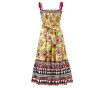Smocked Cartwheel-print Cotton-poplin Midi Dress