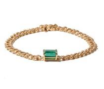 Diamond, Emerald & 18kt Gold Curb-chain Bracelet