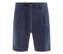 Pleated Slubbed-linen Hopsack Shorts
