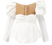 Kim Puff-sleeve Sweetheart-neckline Satin Top