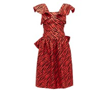 Flocked Zebra-print Satin Dress