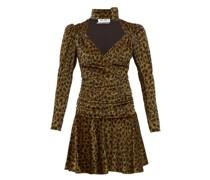 Leopard-print Velvet Mini Dress