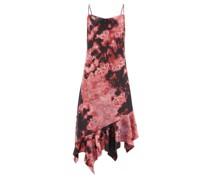 Asymmetric-hem Tie-dye Satin Midi Dress