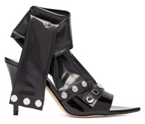 Latex-strap Patent-leather Mules