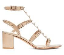 Rockstud Block-heel Leather Sandals