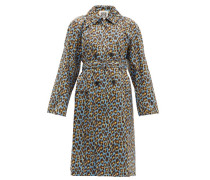 Leopard-print Cotton Trench Coat