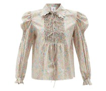 Pernille Hand-smocked Floral-print Cotton Top