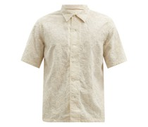 Floral-embroidered Cotton-gauze Shirt