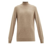 Longline Stand-neck Wool Sweater