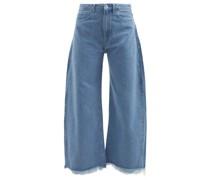 Frayed-cuff Wide-leg Jeans