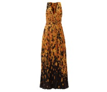 Layla Ikat Floral-print Ruched Crepe Gown