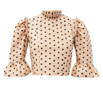 Ruffled Polka-dot Silk Cropped Top