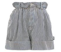 Paperbag-waist Striped Denim Shorts