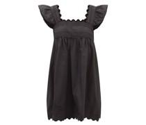 Square-neck Cotton-poplin Mini Dress