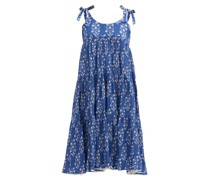 Tie-shoulder Tiered Floral-print Cotton Dress