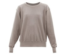 Cropped Brushed-back Cotton Hooded Sweatshirt