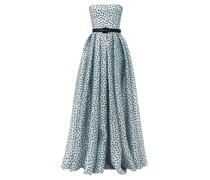 Strapless Polka-dot Silk-organza Gown