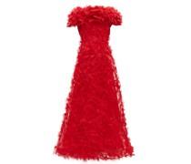 Rosette-appliqué Tulle Gown