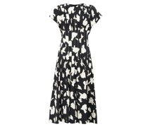 Pintucked-waist Pleated Floral-print Crepe Dress