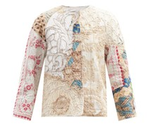 Ilana Collarless Floral-embroidered Cotton Jacket