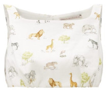 Fanny Square-neck Linen Cropped Top