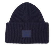 Pansy Face Patch Wool Beanie Hat