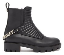 Maddic Max Chain-link Ribbed-leather Ankle Boots