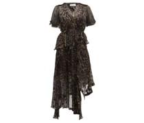 Esther V-neck Leopard Print Devoré Dress