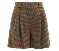 Drum Beat Checked Wool-twill Suit Shorts