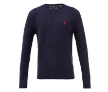 Logo-embroidered Cable-knit Cotton-blend Sweater