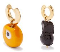Mismatched Pearl & Gold-vermeil Hoop Earrings