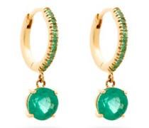 Grass Seed Emerald & 18kt Gold Earrings