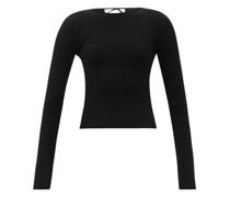 Angelina Lace-up Rib-knit Sweater