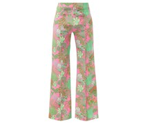 Flared Psychedelic Floral-print Silk Trousers