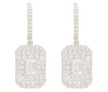Baguette Diamond & 18kt White Gold Drop Earrings