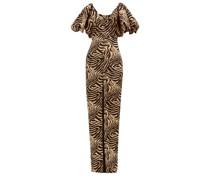 Puff-sleeve Tiger-print Crepe Dress