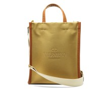 Logo-debossed Leather And Canvas Tote Bag