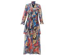 Ruffle-trim Floral-print Silk-georgette Gown