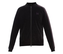 Butterfly-embroidered Velour Track Jacket