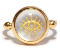 Evil Eye Mother-of-pearl & Gold-plated Ring