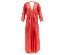 Clemence Gathered Silk-habotai Maxi Dress