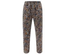 Leaf-print Cotton-sateen Pyjama Trousers