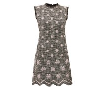 Embroidered-flower Bouclé-tweed Shift Dress