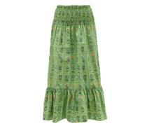 Artie Shirred Floral-print Cotton Midi Skirt