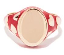 Amour 14kt Gold & Enamel Signet Ring